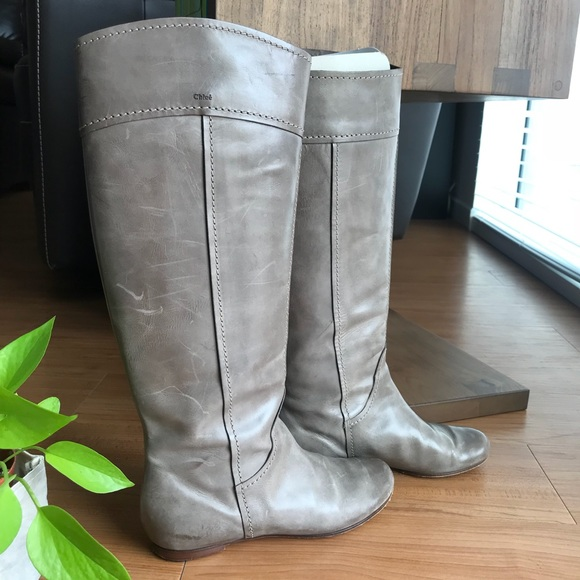 Chloe Shoes - Chloe Size 6.5 Grey Saturnia Leather Calf Boots